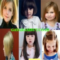 model rambut anak perempuan - Bob with Straight Bangs