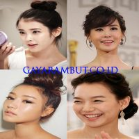 model rambut wanita korea - Curly Pinned Bun