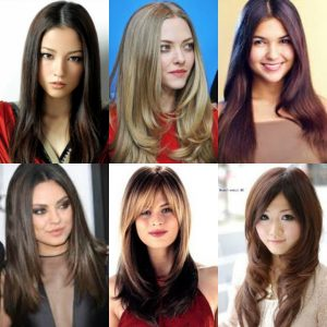 Model Rambut Layer Panjang Untuk Wajah - Layer Lurus Belah Tengah