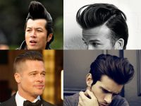 Gaya rambut model On the Edge Pompadour