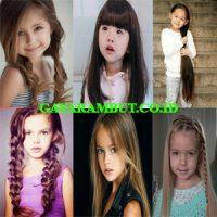 model rambut anak perempuan Rambut Panjang untuk Wajah Bulat