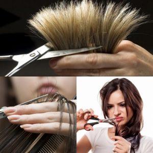 cara menghilangkan rambut bercabang dengan dipotong unjung rambutnya