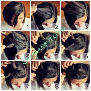 Cara mengepang rambut pendek Side Braids