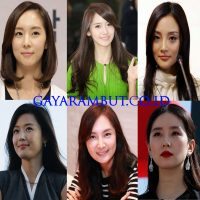 model rambut wanita korea - Sleek Half Up