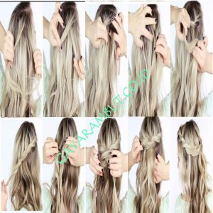 cara mengepang rambut pendek - Half Twisted Crown Braid