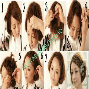 cara mengepang rambut pendek - One Side Bang Braids