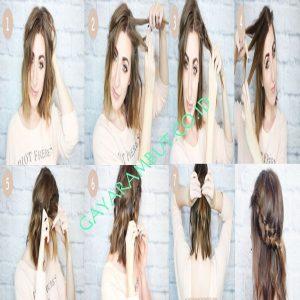 cara mengepang rambut pendek - Headband Braid