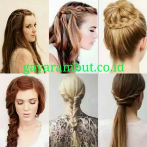 Model Rambut Pesta Untuk Wanita Wajah Bulat - Kepang