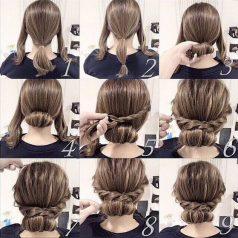 Cara Mengikat Rambut Panjang model cross twin bun