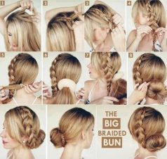 Cara Mengikat Rambut Panjang model sanggul kepang