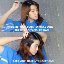 Sisir Rambut dan Bagi Menjadi Tiga Bagian