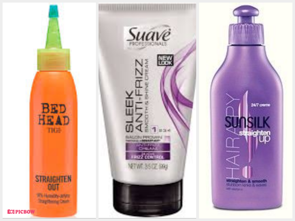 Tigi Bed Head Straighten Out Straightening Cream, Suave Professionals Sleek Anti-Frizz Cream, Sunsilk Straighten-Up 24/7 Cream