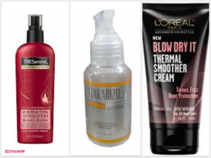 Tresemme Heat Protection Keratin Smooth,Makarizo Hair Recovery Drops,L'oreal Blow Dry It Thermal Smoother Cream